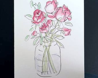Hand Drawn Card (Handmade), Rose Card, Floral Card, Rose Stationery, Floral Stationary