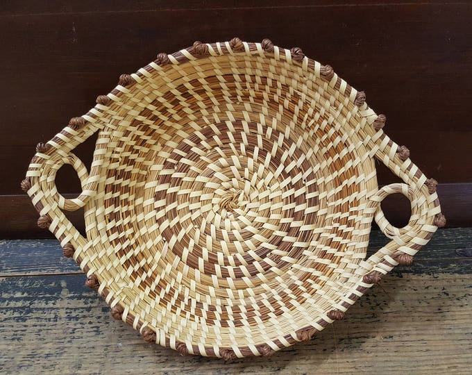 Vintage Charleston Gullah Sweet Grass Basket Handled Tray Bread
