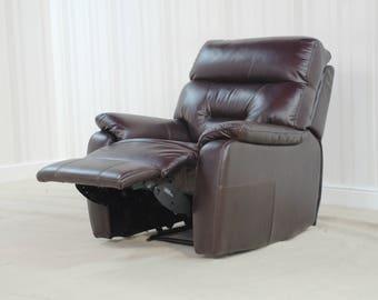 Designer Chestnut Brown Leather manual rec chair (257)