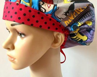 Superhero Women! Women's Surgical Scrub Hat, Bouffant Style