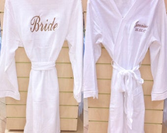 Pack of x 5 Personalised white waffle bridal dressing gowns
