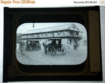 Magic Lantern Glass Horse and Buggy by Apartments Panama Early 1900's
