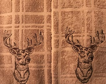 Embroidered Deer Towel & Hot Pads. Set of 5 pieces.