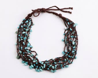 Necklace croshet with natural stones and beads of turquoise blue color