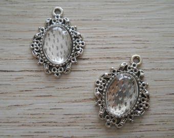 Medium oval cabochon in antique silver x 2