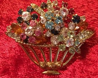 Flower Basket Brooch 3-dimensional Pin 1990s