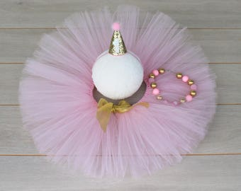 Pink & Gold 3 Piece Cake Smash Outfit - Tutu, Party Hat Crown And Bubblegum Necklace