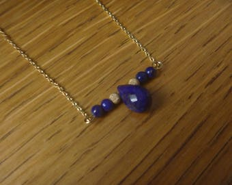 lapis lazuli gemstone beads and gold necklace