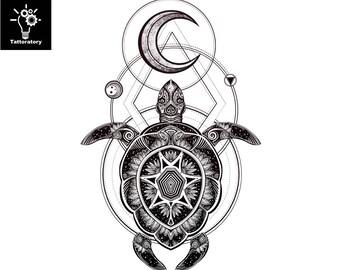 Geometric Tattoo Moon Temporary Tattoo Moon Tattoo Tribal Turtle Tattoo Sea Turtle Tattoo Polynesian Tattoo Maori Tattoo Tribal Fake Tattoo