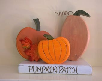 Pumpkin Patch wood trio Fall home decor Fall Harvest Halloween Autumn September