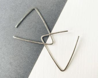 Triangle earrings, minimalist jewelry, silver earrings, geometric threader, gift under 10, Valentine's Day, ear wires