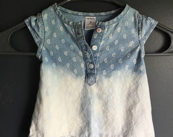3 month short sleeve shirt , blues and white ombre effect with cute white designs on shirt