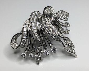 Antique Art Deco French Platinum 10.00 CTW Old European Cut Diamond Pin