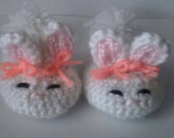 0-3M Bunny Slippers Crocheted