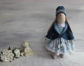 Textile doll Tilda Rag Art doll Cloth doll Summer gift Collection doll Handmade Interior decoration Tilda bunny rabbit Fabric art dolls