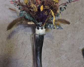 Longhorn Vase - Longhorn Decor - Longhorn Vase with Pine Base and Dried Flowers - AK Creations Designs - Western Decor - Old West Decor