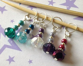 Beaded Stitch Marker Set For Knitting, Progress Markers for Crocheting, Set2