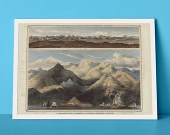 Scotland's Mountains Poster | A Comparative View Showing The Heights of Principal Mountains of Scotland | Scottish Giclée Art Reproduction