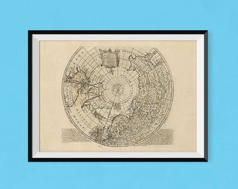 Map of North Pole | 1747 Vintage Northern Hemisphere Map Poster | Fine Art Reproduction Print of Antique Map of the World
