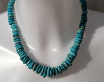 Belle - Turquoise discs and a sterling silver spiral clasp