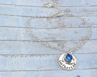 Sterling silver bracelet with hand stamped name, birthstone and open heart