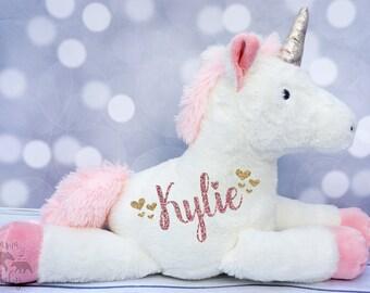 Baby Girls Personalized Unicorn Plush, Unicorn Toy, Unicorn Stuffed Animal, Flower Girl Gift, First Birthday Gift, Newborn Gift