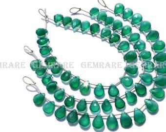 Green Onyx Faceted Pear semiprecious Gemstone beads, Quality AAA, 8.50x11 to 8.50x12 mm, 18 cm, 19 pieces, GR-041/1, Semiprecious gemstone