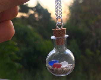 Red, White & Blue Sea Glass Bottle Necklace