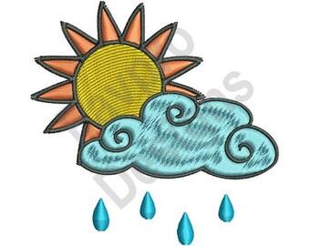 Sun And Cloud - Machine Embroidery Design