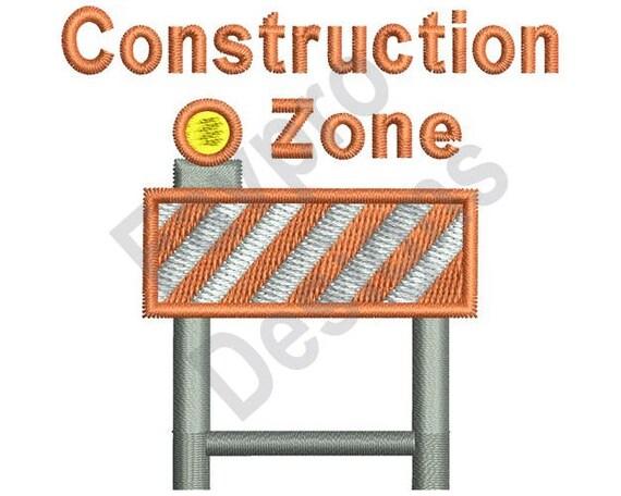 Construction zone machine embroidery design