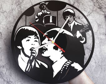 Music gifts for him, Wall clock made of vinyl record, The Beatles art, Beatles gifts, Beatles decor, Beatles birthday party, Beatles clock