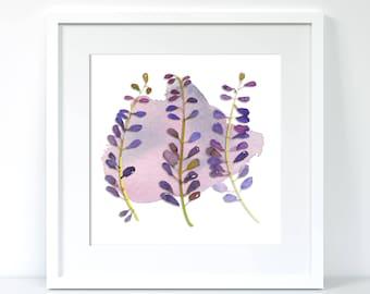 Purple leaves floral framed print