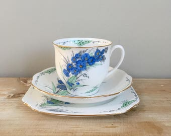 1930s Vintage Blue and White Bell China Delphinium Cup, Saucer and Plate Trio