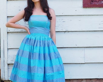 1950s strapless polished cotton dress