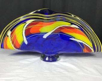 Blue and Yellow Glass Clamshell Vase
