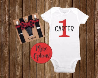 1st Birthday Boy Outfit Buffalo Plaid Bow Tie Suspenders Lumberjack Party Red Black White Onesie Cake Smash Personalized Custom Name Shirt