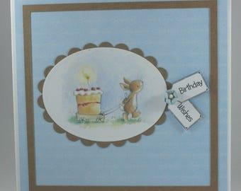 Handmade birthday card - bunny with cake