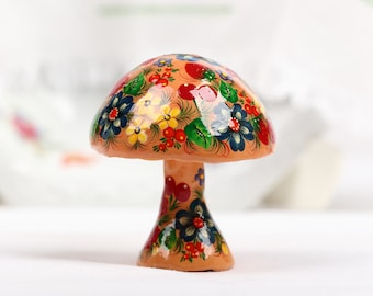 Ukrainian Petrykivka Figurine Art Painting Petrykivka Wood Mache Figurine Painting Collectible Decor