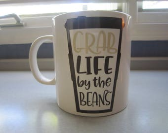 Oversize Coffee Lovers Mug - Grab Life By The Beans