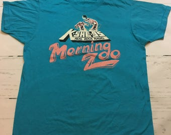 Vintage KSHE Radio Station Morning Zoo Teal T-Shirt Size XL