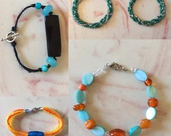 Handmade Beaded Bracelets - custom made color and length