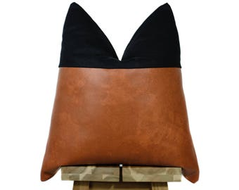 Faux Leather and Linen Pillow Cover | Bourbon & Black | 'Indi'