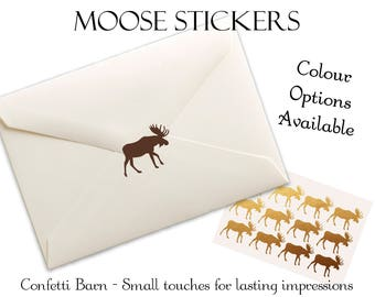 Moose Stickers - Rustic Party - Baby Shower - Removable Vinyl - Party Invitations - Envelope Sealing Stickers - Planner Stickers #96