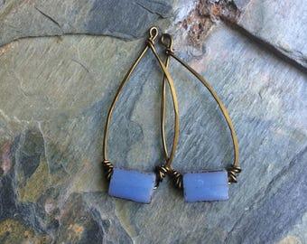 Rustic pendant unique pendant artisan pendant stone pendant earring component artisan component stone blue