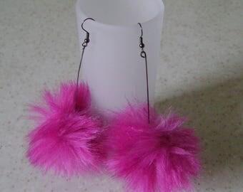 Pom Pom Fuchsia original women earrings