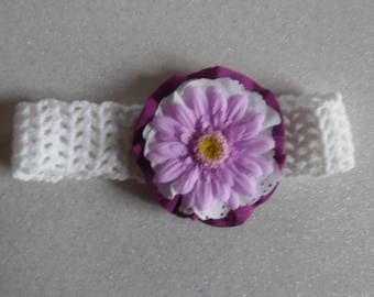 Crocheted white headband and purple flower for baby