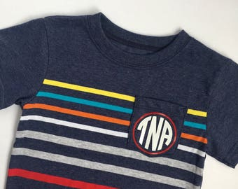 Pocket Monogrammed Tee for Boys/Toddler Tee/Summer Outfit
