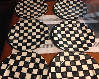 Set of 6 Black & White Charger Plates