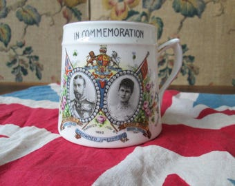 Royal Commemoration Cup Mug King George V and Mary 1911 | English china | vintage | antique | collectibles | Royalty