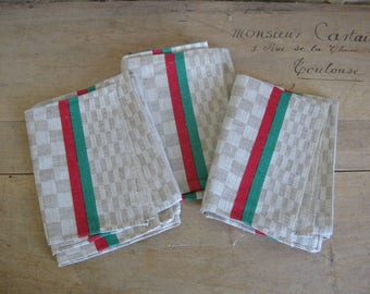 3 French tea towels in checkered linen with red and green stripes